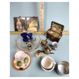 Cobalt glass eye wash cups, teacups, doll