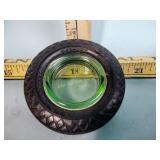 Goodyear tire advertising ashtray green
