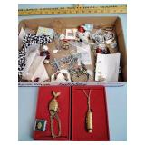 Costume jewelry: necklaces, earrings, pins