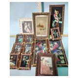 Framed pictures incl. feather birds