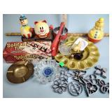 Bobble toys, deviled egg dish, solitaire tiles,