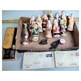 Stamps, Santa ornaments, shoe shine kit, misc.