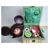 Mickey Mouse hat, sewing box, thread