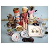 Tinker Toys, dolls, ashtrays, and glasses