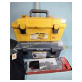 Fishing rod rack, tool boxes, misc.