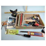 Spigot, hand tools, screw driver, nails, leveler,