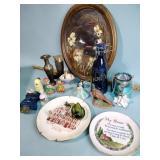 Glass bird, figurines, brass vase, plates, sun