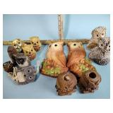 Owl figurines & wall plaques