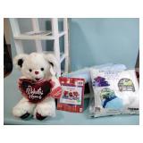Fabric bolts, plush bear, pillow