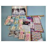 Stickers, ribbons, wedding bell decor, tissue