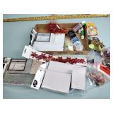Glue, craft beads, gift boxes, craft paint
