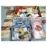 Marbles, costume jewelry, craft beads, scissors,