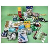 Tape measure, bike lock, new thread, led lights,