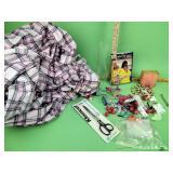 Craft beads, fabric, knife, locks, small wrench,