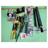 Wrench, pliers, lock, soil ph meter, misc