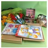 Hair accessories, makeup, purse, puzzles,
