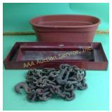 Tool tote/toolbox insert, chain, box knives, hand