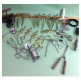 Brass letter openers, bottle openers, antique