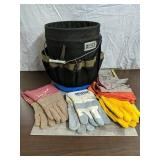 Work bucket with Tools and gloves