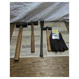 Mallet, hammer, pry bar &  gloves