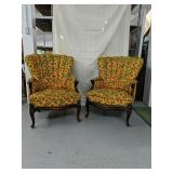 Wood framed upholstered yellow orange and green