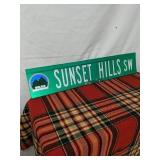 "Walker road sign Sunset Hills SW 30"" by 6"""