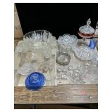Lot of glassware Punch bowl Vintage gold trim