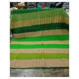 "54""x45"" crocheted vintage green striped blanket"