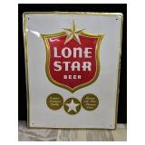 "Lone Star beer tin sign 29""x16"