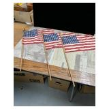3- 48 star American flags on a 29-in stick