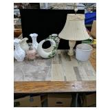 A lot of vintage odds and ends Marble lamp,