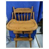 "Solid oak acorn backed high chair 49""Tall"