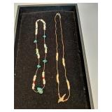 "24""and 20"" puka & shell/puka, turquoise & coral"