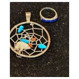 Sterling silver dream catcher and ring