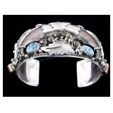 Navajo Bear Claw & Turquoise Sterling Bracelet GE