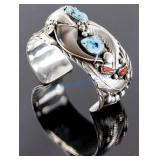 Navajo Sterling Turquoise Bear Claw Bracelet E.S.