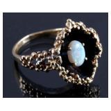 Ladies 14K Gold Fire Opal Shadow Box Ring