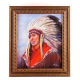 Original Native American Indian Oil Painting