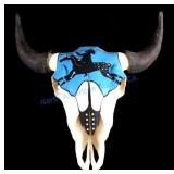 Sioux Native American Indian Painted Buffalo Skull