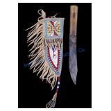 Teton Sioux Beaded Knife Sheath & 19th C. Knife