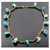 Navajo Nugget Turquoise & Brass Bead Necklace