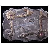 14K & Sterling Silver Vogt Jeweled Belt Buckle