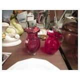 2 PC- 1 RED CRACKLE GLASS PITCHER & CRANBERRY VASE