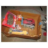 BOX LOT -- RAMS JERSEY, JIG SAW, ETC