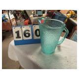 "BLUE GLASS PITCHER -- 8 1/2"""