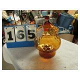 AMBER CANDY JAR W/ LID