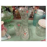3 PC -- GLASS VASE, PITCHER & BUTTER DISH