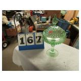 GREEN GLASS COMPOTE W/ LID