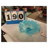 BLUE OPALESCENT CANDY DISH