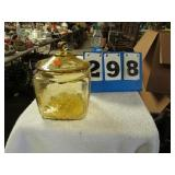 AMBER DEPRESSION GLASS JAR